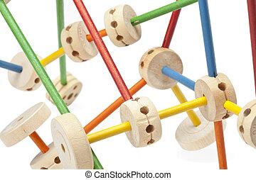 set of assembled tinker toys - A set of assembled wooden...