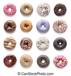 Set of assorted donuts isolated on white background. Include clipping path