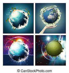 Set of assorted environmental backgrounds for your design. ...