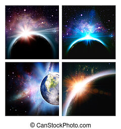 Set of assorted space backgrounds for your design. NASA imagery used