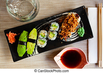 Set of assorted vegetable sushi rolls