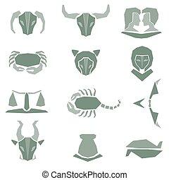 Set of astrological zodiac symbols
