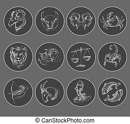 Set of astrological zodiac symbols. Horoscope signs