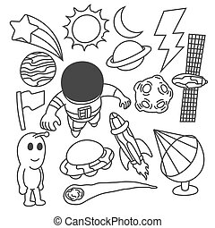 Set of astronaut doodle, cute, childish