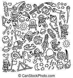 Set of astronaut doodle