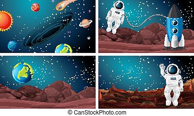 Set of astronaut in the space