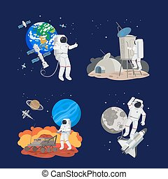 Set of astronauts in space
