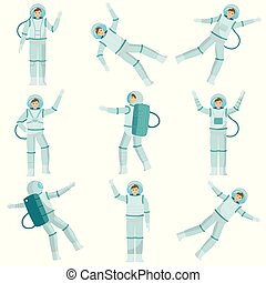 Set of astronauts of men and women dancing in zero gravity and conquering other planets. Drawing illustration.