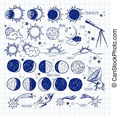 Set of astronomy sketches.
