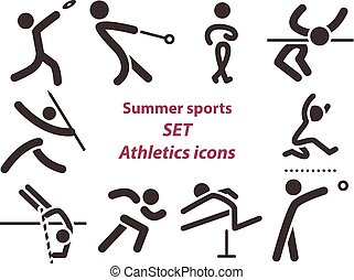 Set of athletics icons - Summer sports icons - set of...