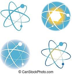 Set of atom molecule logos signs design