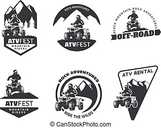 Set of ATV emblems, badges and icons. All-terrain vehicle off-road design elements.