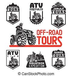 Set of ATV vehicle logo and emblems. All-terrain 4x4 quad illustration.