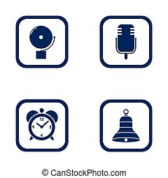set of audible icons alarm bell, microphone, alarm clock and...