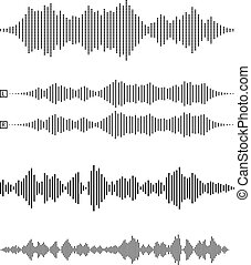 set of audio waveforms or sound waves, speech, noise or ...