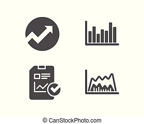 Audit, Report checklist and Bar diagram icons. Trade chart sign.