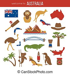 Set of Australia culture symbols. Collection icons kangaroo...