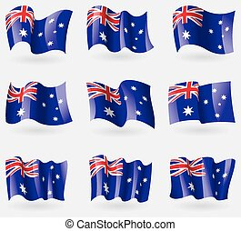 Set of Australia flags in the air. Vector