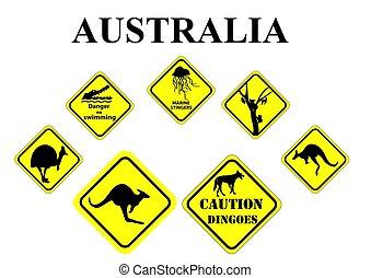 set of  Australian wild life signs