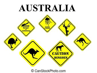 set of Australian wild life signs - set of yellow Australian...