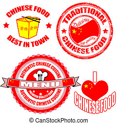 Set of authentic chinese food stamp and labels