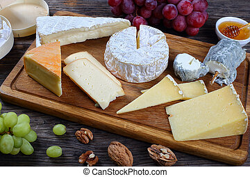 set of authentic french Cheeses, close-up
