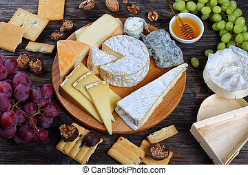 set of authentic french Cheeses, top view