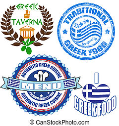 Set of authentic greek food stamp and labels on white background, vector illustration