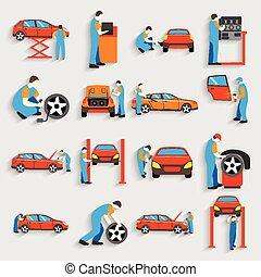 Set of auto mechanic car service repair and maintenance work icons . Man reparing car. Flat style design.