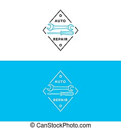 Set of auto repair logo blue black color isolated on background for auto service shop