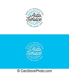 Set of auto service logo with gear line style isolated on background for auto repair shop