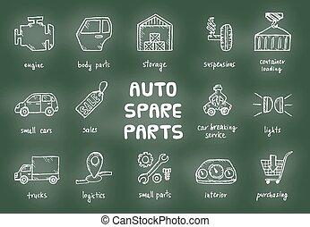 Set of auto spare parts.