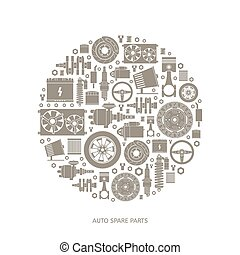 Set of auto spare parts. Car repair icons in flat style. ...