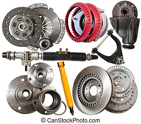 automotive parts - Set of automotive parts. Isolated on ...