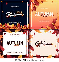 Set of Autumn Background with leaves for shopping sale or...