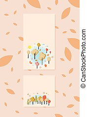 Set of  autumn banners  for social media networks. Vector illustration.