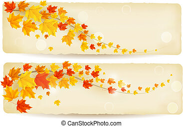Set of autumn banners with leaves