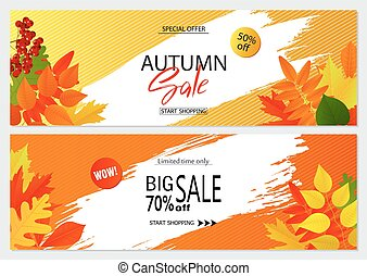 Set of autumn banners with leaves. Wallpaper,flyers, invitation, posters, brochure, voucher discount.Vector illustration.