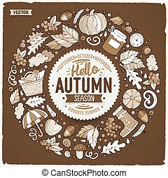 Set of Autumn cartoon doodle objects, symbols and items