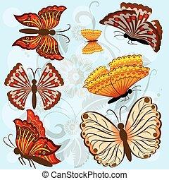 Set of autumn colored vector butterflies