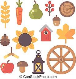 Set of autumn flat icons on white background