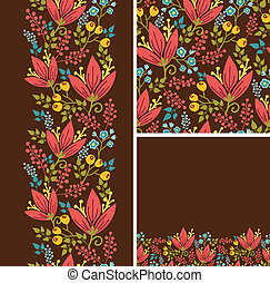 Set of autumn flowers seamless pattern and borders backgrounds