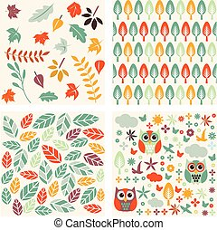 Set of autumn forest patterns