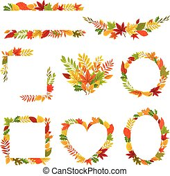 Set of autumn frames and compositions. Vector illustration on a white background.