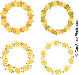 Set of autumn frames, vector illustration
