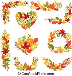 Set of autumn frames. Vector illustration on a white background.
