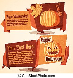 Set of autumn holidays banners - Halloween and Thanksgiving Day.