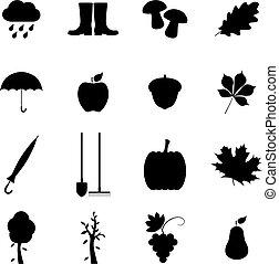 Set of autumn icons, vector illustration