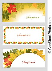 Set of autumn leaves background.