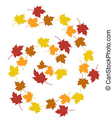 set of autumn leaves over a white background.